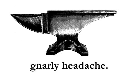 gnarly headache logo: anvil